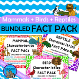 MAMMALS BIRDS REPTILES Characteristics FACT PACKS Bundled