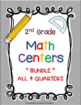 BUNDLE of Math Centers for 2nd Grade (All 4 Quarters)