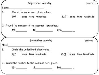 BUNDLE of Monthly Sets of Math Warm-Ups- Third Grade Common Core Aligned