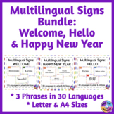 BUNDLE of Multilingual Posters for Classroom Decor: Crayon & Snowflake Themes
