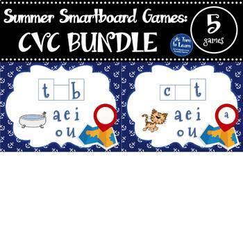 BUNDLE of Summer Smartboard Games for CVC Words (Smartboard/Promethean Board)