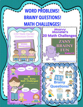 Back to School BUNDLE Word Problems, Math Challenges, and Brainy Questions!