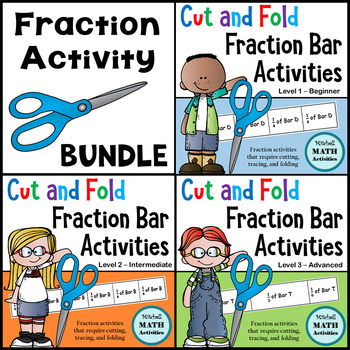 BUNDLE of all 3 Cut and Fold Fraction Bar Activities