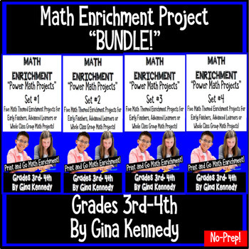 3rd and 4th Grade Math Enrichment Projects, Four Sets of Amazing Projects