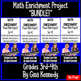 Math Projects Bundle, Four Enrichment Sets for 3rd and 4th Grade, Print and Go!