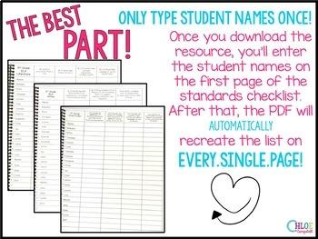 5th Grade Florida Standards Checklist - Bundled