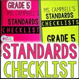 5th Grade Florida Standards Checklist: Math, Science, ELA, Social Studies BUNDLE