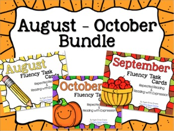 BUNDLED August - October Fluency Practice Task Cards