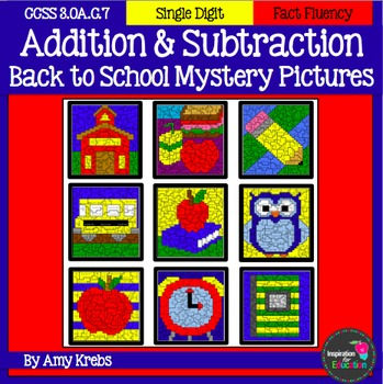 BUNDLED - Back to School Addition and Subtraction Mystery Pictures