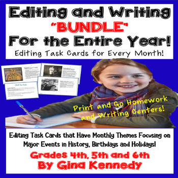 Editing For the Entire Year! Monthly Writing Editing Practice Task Cards!