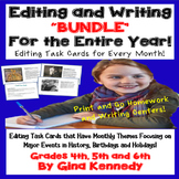 Editing For the Entire Year! Monthly Editing and Writing Task Cards!  BUNDLE!