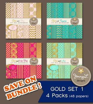 BUNDLED Digital Papers : Gold Set 1