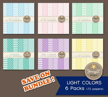 BUNDLED Digital Papers :  Light / Pastel Colors