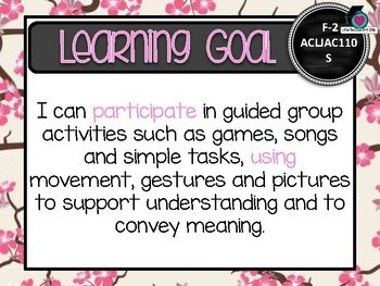BUNDLED! F-6 JAPANESE  – Aus. Curric. Learning Goals & Success Criteria Posters.