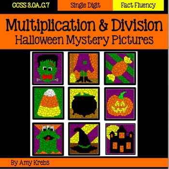 BUNDLED - Halloween Multiplication and Division Mystery Pictures