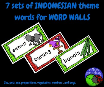 BUNDLED INDONESIAN theme topic words WORD WALL a growing bundle!