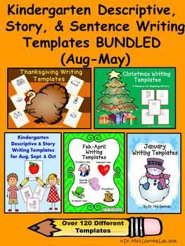 BUNDLED: Kindergarten Descriptive, Story, & Sentence Writing Templates