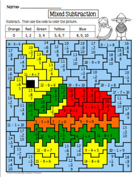 BUNDLED - Mexico Addition and Subtraction Mystery Pictures (Cinco de Mayo)