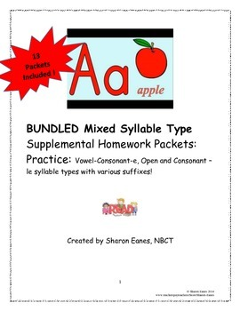 BUNDLED Mixed Syllable Supplemental Homework Practice