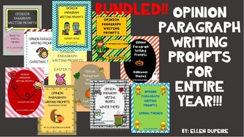 BUNDLED! OPINION PARAGRAPH WRITING PROMPTS!