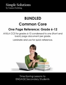 BUNDLED One Pager: CCS ELA grades 6-12