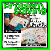 Problem Solving Math Worksheets or Activities for Patterning and 2D Geometry