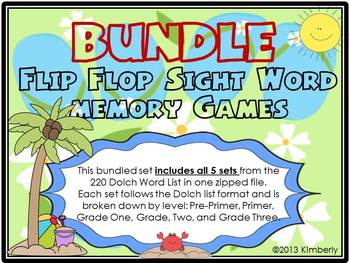 {BUNDLED SET} Flip Flop Sight Word Memory Games: 5 sets included-220 Dolch Words