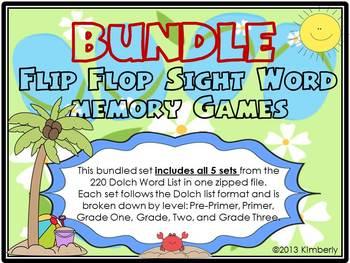 {BUNDLED SET} Flip Flop Sight Word Memory Games: 5 sets in