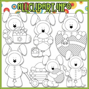 BUNDLED SET - Funny Bunny Bears Clip Art & Digital Stamp Bundle