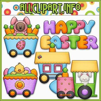 BUNDLED SET - Funny Bunny Train Clip Art & Digital Stamp Bundle