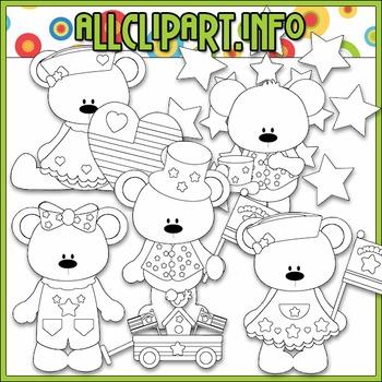 BUNDLED SET - I Love America Bears 1 Clip Art & Digital Stamp Bundle