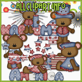 BUNDLED SET - I Love America Bears 2 Clip Art & Digital Stamp Bundle