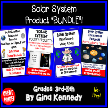 "BUNDLE ""Solar System"" Interactive Notebook, Poetry, Projects, and Much More"