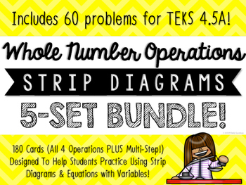Story Problems, Strip Diagrams, & Equations Match-Up Cards BUNDLE {TEKS 4.5A}