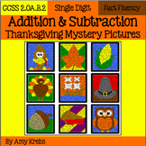 BUNDLED - Thanksgiving Addition and Subtraction Mystery Pictures
