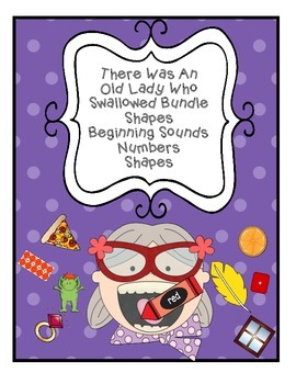 BUNDLE There Was An Old Lady Who Swallowed Color Shape Number Beginning Sound
