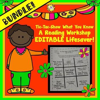 BUNDLED Tic-Tac-Show What You Know Reading Workshop Editable Program