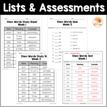 Latin and Greek Stems and Roots Unit One and Two BUNDLE