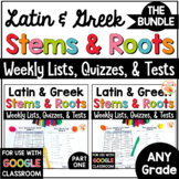 Greek and Latin Root Words Weekly Lists BUNDLE with DIGITAL OPTION