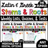 Greek and Latin Root Words Weekly Lists BUNDLE Digital Dis