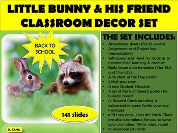 Classroom Set Up and Decor Little Bunny and His friend (forms and labels)
