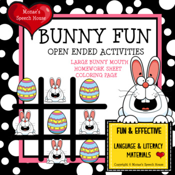 BUNNY TIC TAC TOE Speech Therapy GAME BOARDS