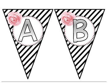 BUNTING!  Black and White Striped with Floral!