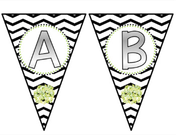 BUNTING!  Black and White Chevron with Floral!