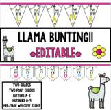 BUNTING!  LLAMA!!  **EDITABLE!**
