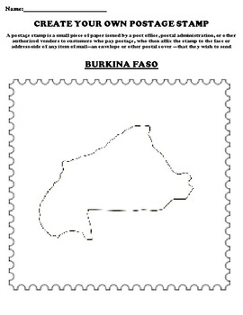 BURKINA FASO Create your Own Postage Stamp Worksheet
