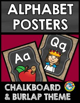 BURLAP AND CHALKBOARD CLASSROOM DECOR (ALPHABET POSTERS) CHALKBOARD POSTERS