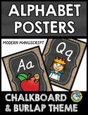 BURLAP AND CHALKBOARD CLASSROOM DECOR (ALPHABET POSTERS) C