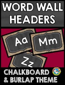 BURLAP AND CHALKBOARD CLASSROOM DECOR (CHALKBOARD WORD WALL HEADERS)