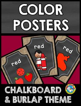 BURLAP AND CHALKBOARD CLASSROOM DECOR (COLOR POSTERS) CHALKBOARD POSTERS